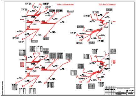 Скачать чертеж - Схема поквартирной разводки отопления 50-ти квартирного дома.