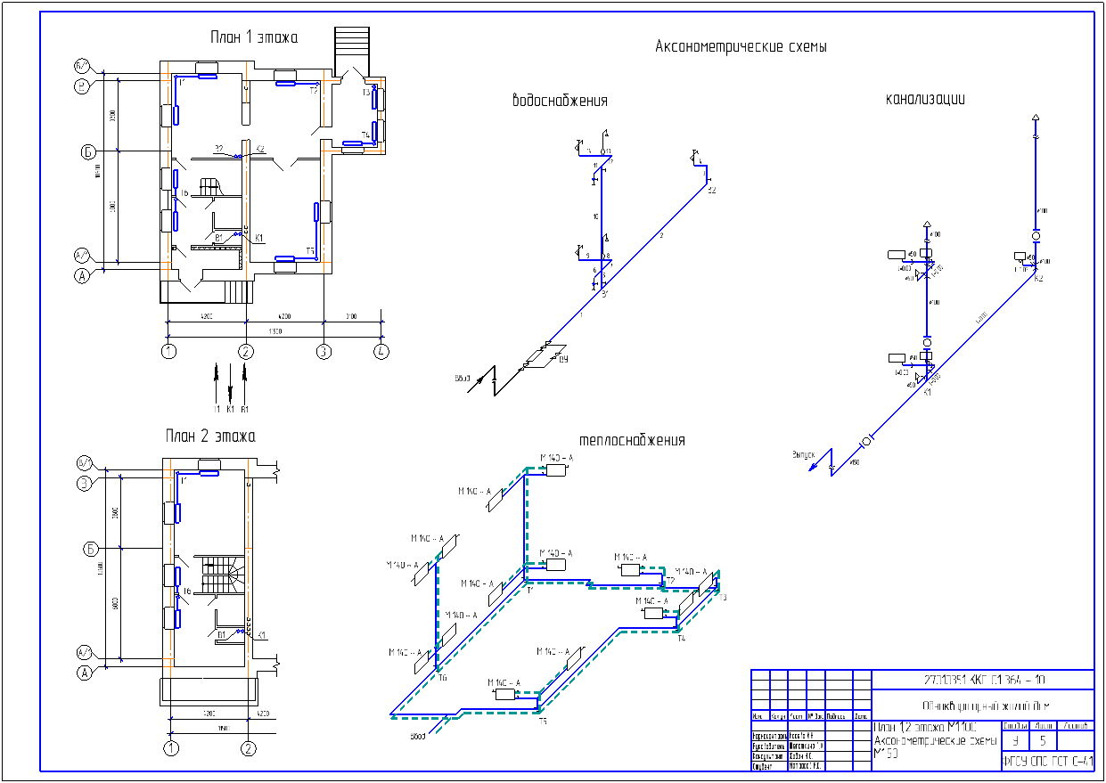 Схема сетей внутридомового водоснабжения