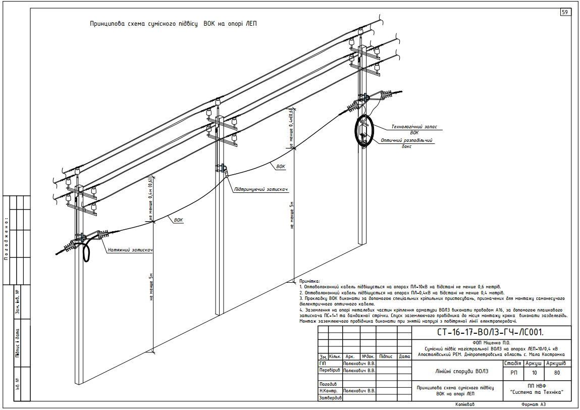 Схема расположения проводов на опорах
