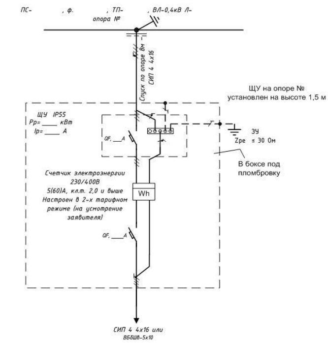 Типовая однолинейная схема электроснабжения 15кВт