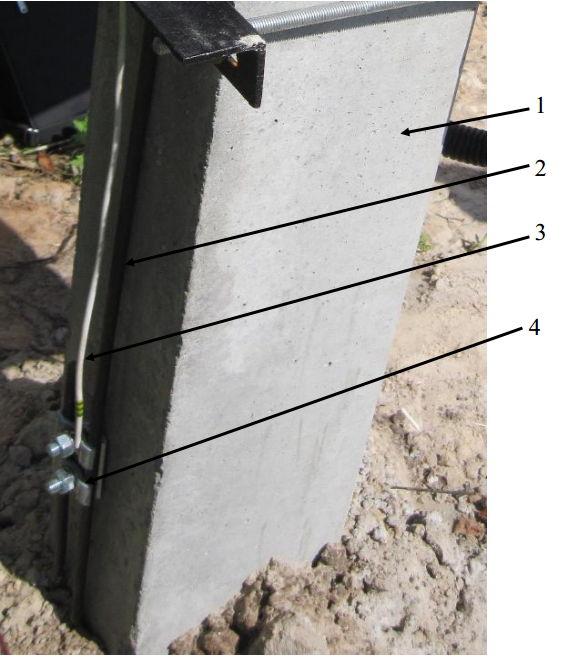 3. Внешний вид типового присоединения заземления щита учета к контуру заземления опоры: